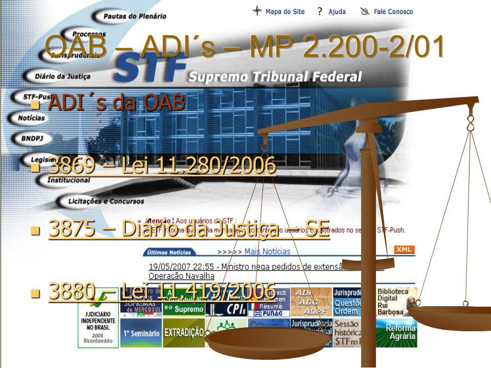 ADI´s da OAB ADI´s da OAB 3869 – Lei 11.280/2006 3869 – Lei 11.280/2006 3869 – Lei 11.280/2006 3869 – Lei 11.280/2006 3875 – Diário da Justiça – SE 38