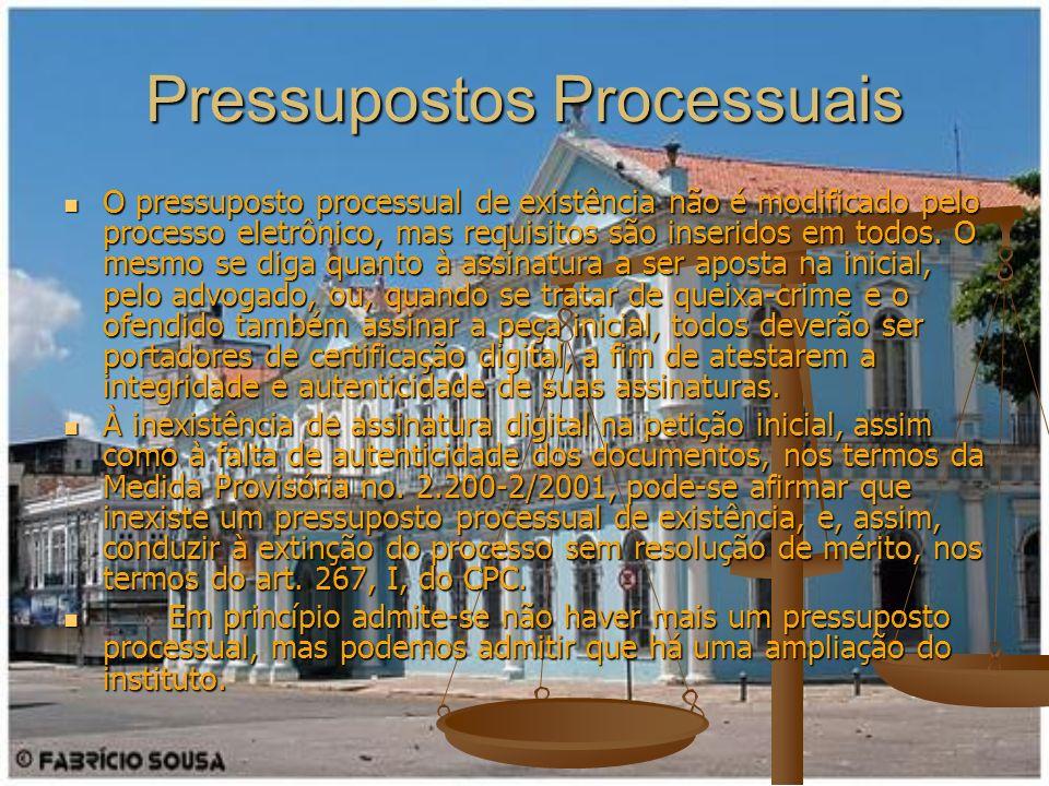 Pressupostos Processuais O pressuposto processual de existência não é modificado pelo processo eletrônico, mas requisitos são inseridos em todos. O me