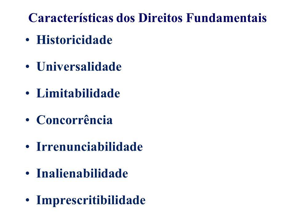 Características dos Direitos Fundamentais Historicidade Universalidade Limitabilidade Concorrência Irrenunciabilidade Inalienabilidade Imprescritibilidade