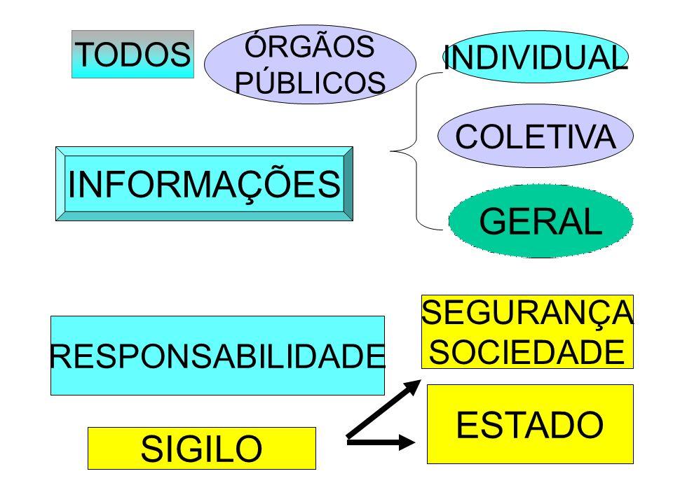INFORMAÇÕES TODOS ÓRGÃOS PÚBLICOS INDIVIDUAL COLETIVA GERAL RESPONSABILIDADE SIGILO SEGURANÇA SOCIEDADE ESTADO