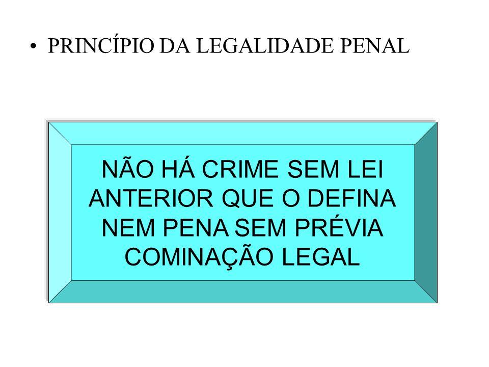 PRINCÍPIO DA LEGALIDADE PENAL NÃO HÁ CRIME SEM LEI ANTERIOR QUE O DEFINA NEM PENA SEM PRÉVIA COMINAÇÃO LEGAL