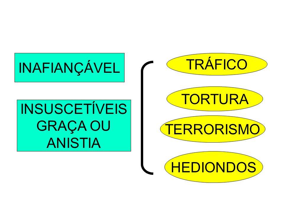 INAFIANÇÁVEL INSUSCETÍVEIS GRAÇA OU ANISTIA TRÁFICO TORTURA TERRORISMO HEDIONDOS