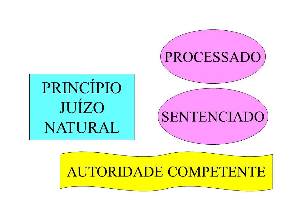 PRINCÍPIO JUÍZO NATURAL PROCESSADO SENTENCIADO AUTORIDADE COMPETENTE