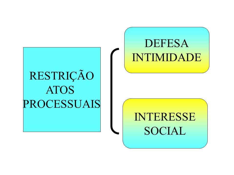 RESTRIÇÃO ATOS PROCESSUAIS DEFESA INTIMIDADE INTERESSE SOCIAL