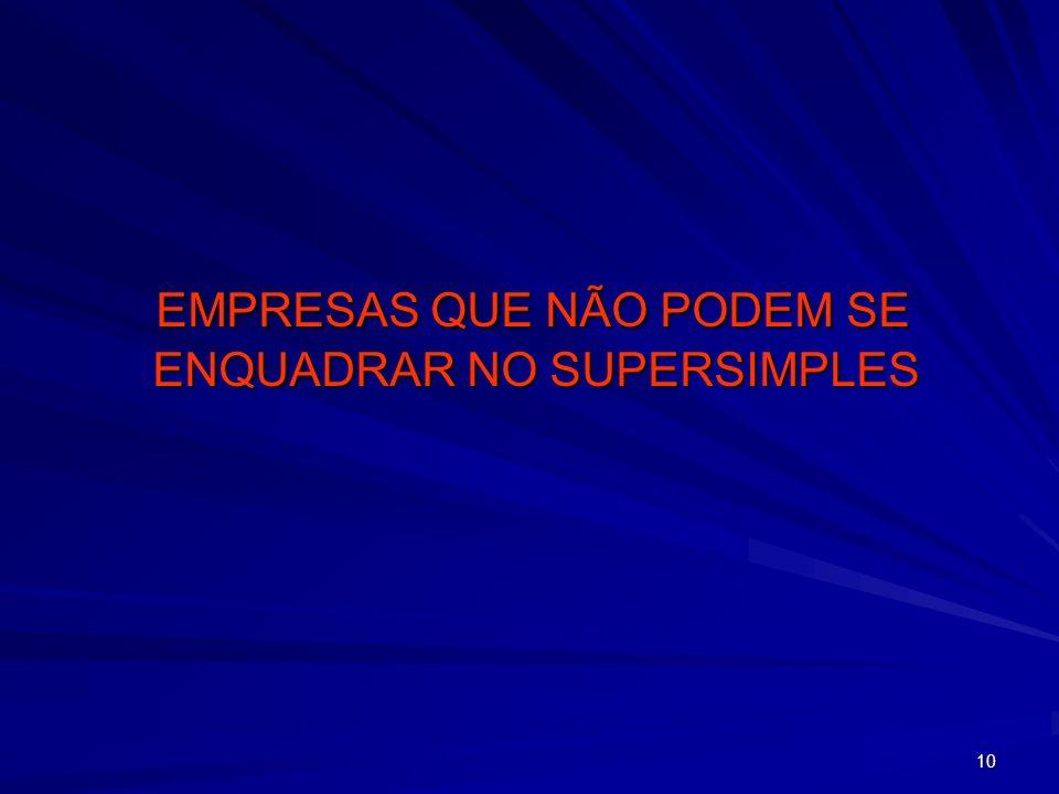 10 EMPRESAS QUE NÃO PODEM SE ENQUADRAR NO SUPERSIMPLES EMPRESAS QUE NÃO PODEM SE ENQUADRAR NO SUPERSIMPLES