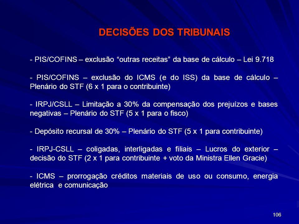 106 - PIS/COFINS – exclusão outras receitas da base de cálculo – Lei 9.718 - PIS/COFINS – exclusão do ICMS (e do ISS) da base de cálculo – Plenário do