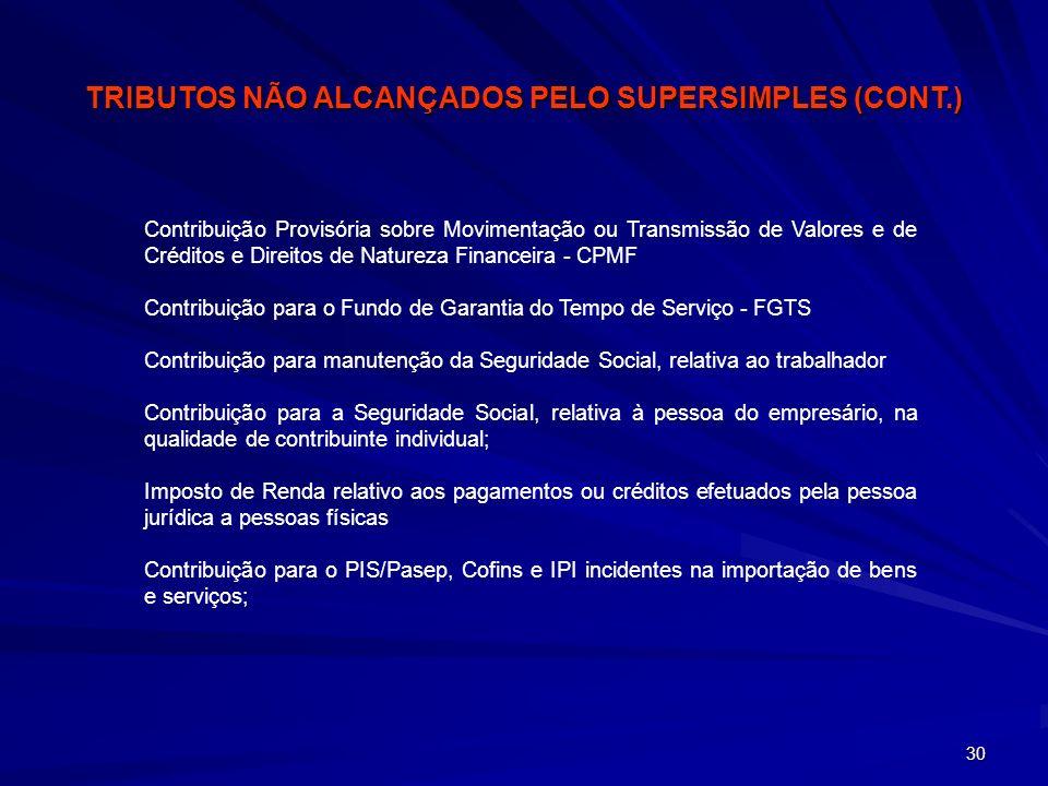 30 Contribuição Provisória sobre Movimentação ou Transmissão de Valores e de Créditos e Direitos de Natureza Financeira - CPMF Contribuição para o Fun