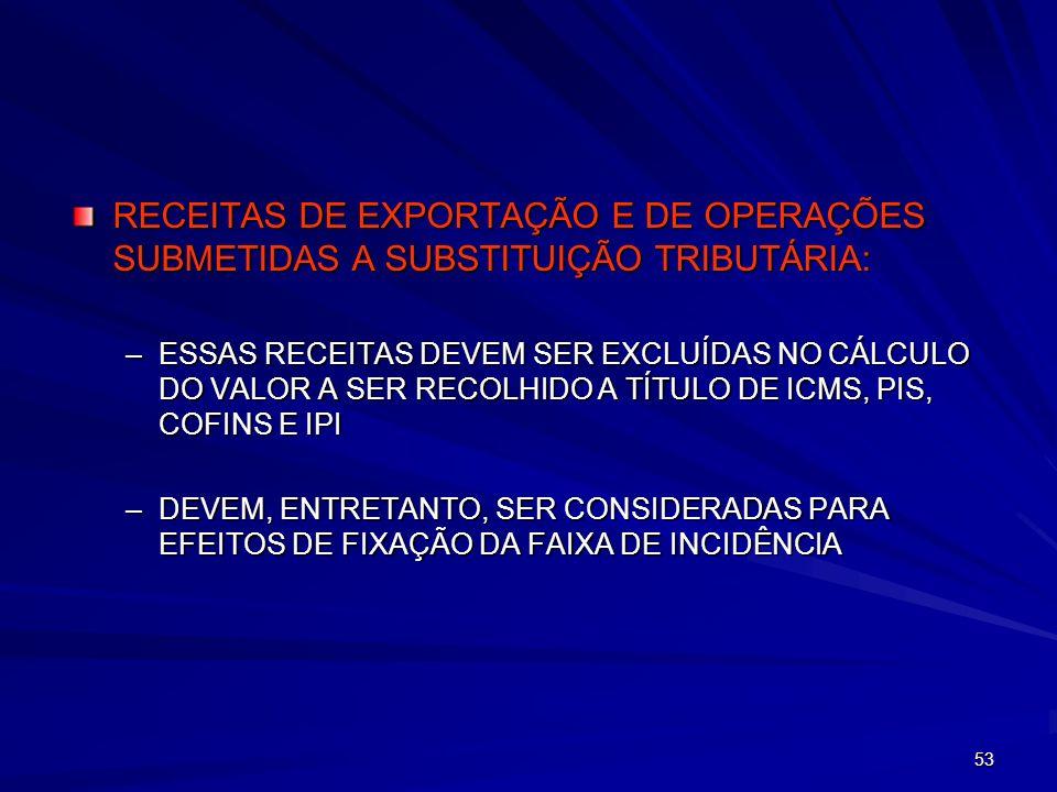 53 RECEITAS DE EXPORTAÇÃO E DE OPERAÇÕES SUBMETIDAS A SUBSTITUIÇÃO TRIBUTÁRIA: –ESSAS RECEITAS DEVEM SER EXCLUÍDAS NO CÁLCULO DO VALOR A SER RECOLHIDO