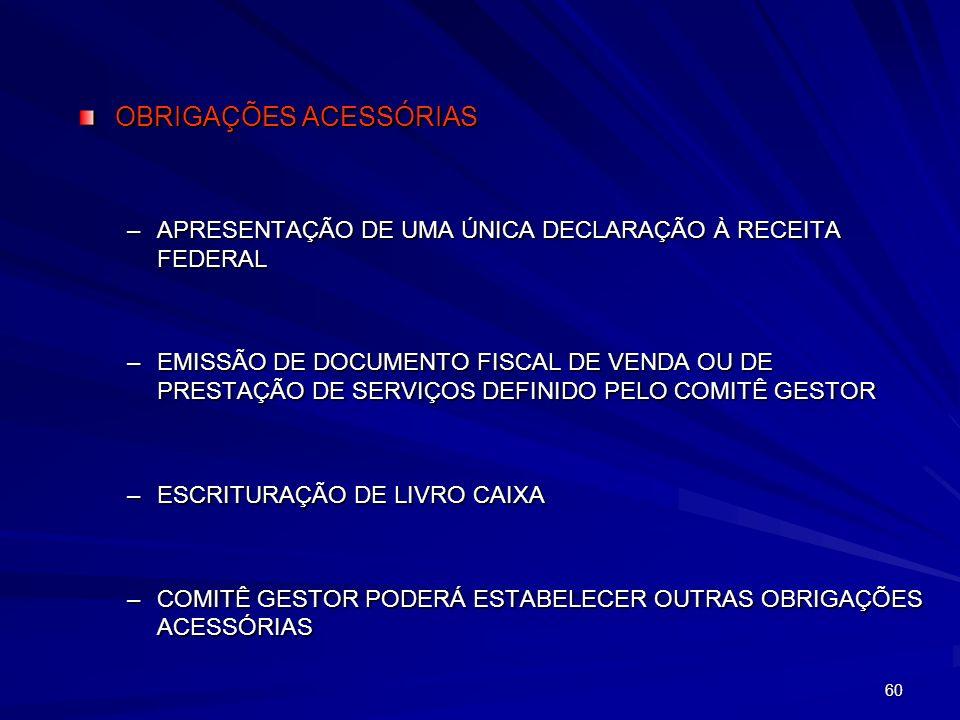 60 OBRIGAÇÕES ACESSÓRIAS –APRESENTAÇÃO DE UMA ÚNICA DECLARAÇÃO À RECEITA FEDERAL –EMISSÃO DE DOCUMENTO FISCAL DE VENDA OU DE PRESTAÇÃO DE SERVIÇOS DEF