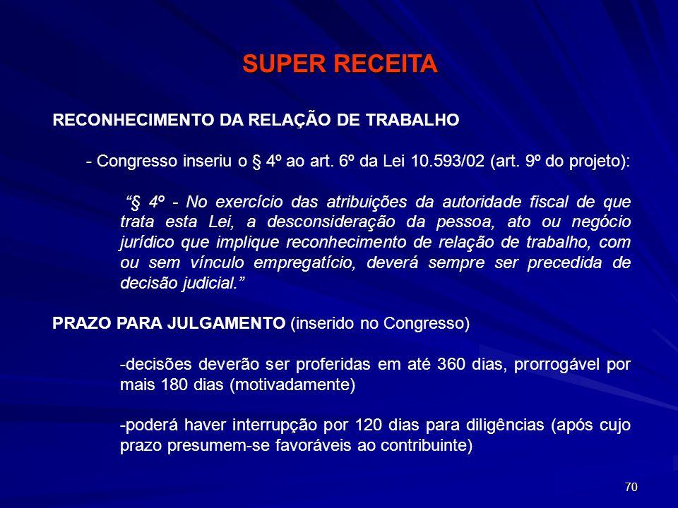 70 RECONHECIMENTO DA RELAÇÃO DE TRABALHO - Congresso inseriu o § 4º ao art. 6º da Lei 10.593/02 (art. 9º do projeto): § 4º - No exercício das atribuiç