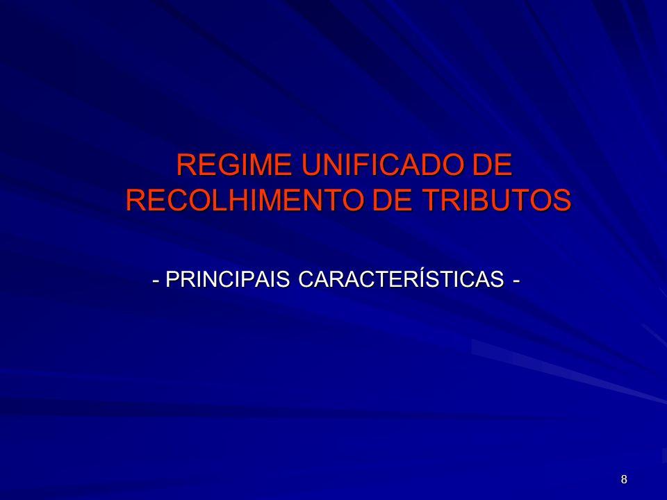 59 RECOLHIMENTO DO TRIBUTO –O RECOLHIMENTO SERÁ FEITO DE FORMA UNIFICADA (MESMO NAS HIPÓTESES DE ADOÇÃO DE REGIMES DIFERENCIADOS PELOS ESTADOS E MUNICÍPIOS) –RECOLHIMENTO PELA MATRIZ (MESMO QUANDO HOUVER FILIAIS) –PAGAMENTO ATÉ O ÚLTIMO DIA DA PRIMEIRA QUINZENA DO MÊS SUBSEQÜENTE –CÓDIGO ESPECÍFICO DE ARRECADAÇÃO PARA CADA RECEITA