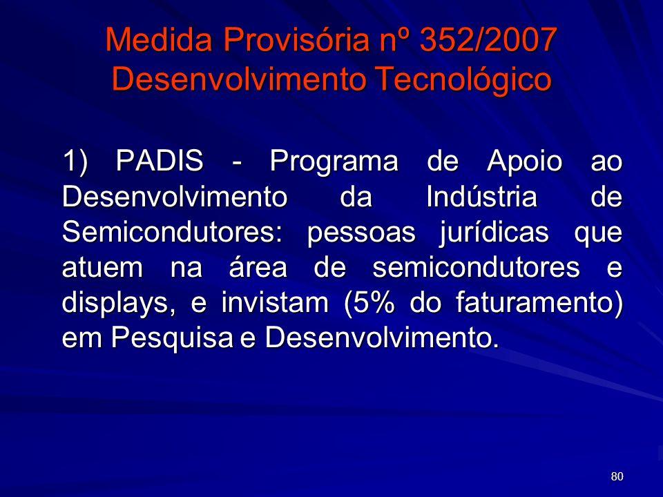 80 Medida Provisória nº 352/2007 Desenvolvimento Tecnológico 1) PADIS - Programa de Apoio ao Desenvolvimento da Indústria de Semicondutores: pessoas j