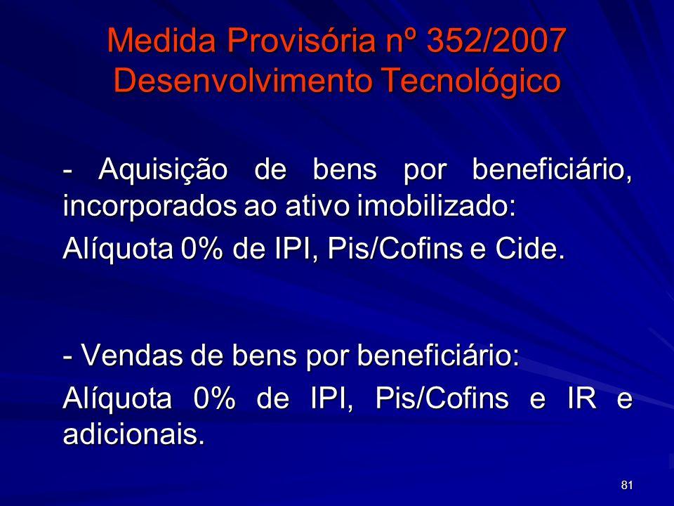 81 Medida Provisória nº 352/2007 Desenvolvimento Tecnológico - Aquisição de bens por beneficiário, incorporados ao ativo imobilizado: Alíquota 0% de I