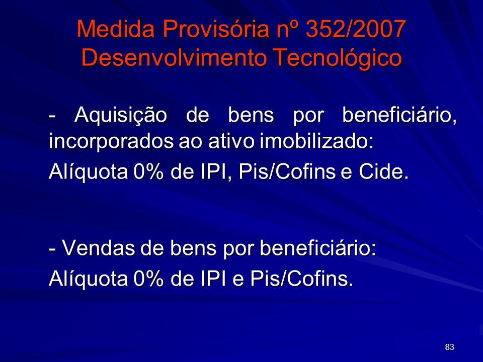 83 Medida Provisória nº 352/2007 Desenvolvimento Tecnológico - Aquisição de bens por beneficiário, incorporados ao ativo imobilizado: Alíquota 0% de I