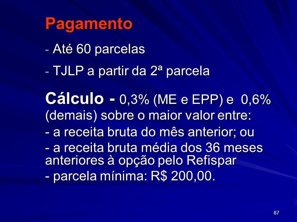 87 Pagamento - Até 60 parcelas - TJLP a partir da 2ª parcela Cálculo - 0,3% (ME e EPP) e 0,6% (demais) sobre o maior valor entre: - a receita bruta do