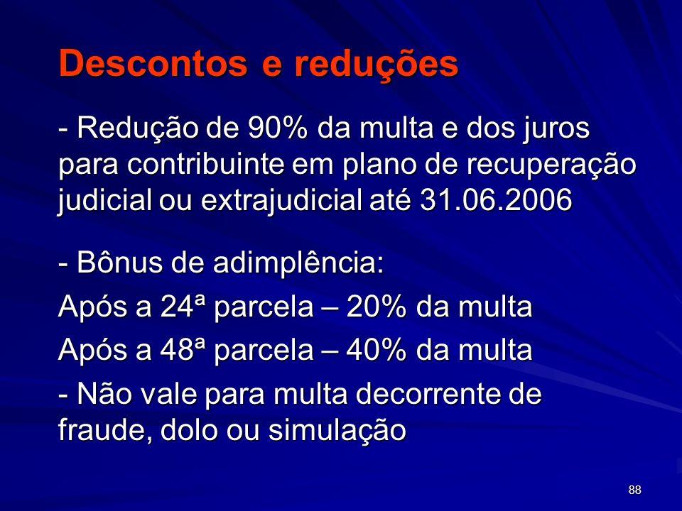 88 Descontos e reduções - Redução de 90% da multa e dos juros para contribuinte em plano de recuperação judicial ou extrajudicial até 31.06.2006 - Bôn