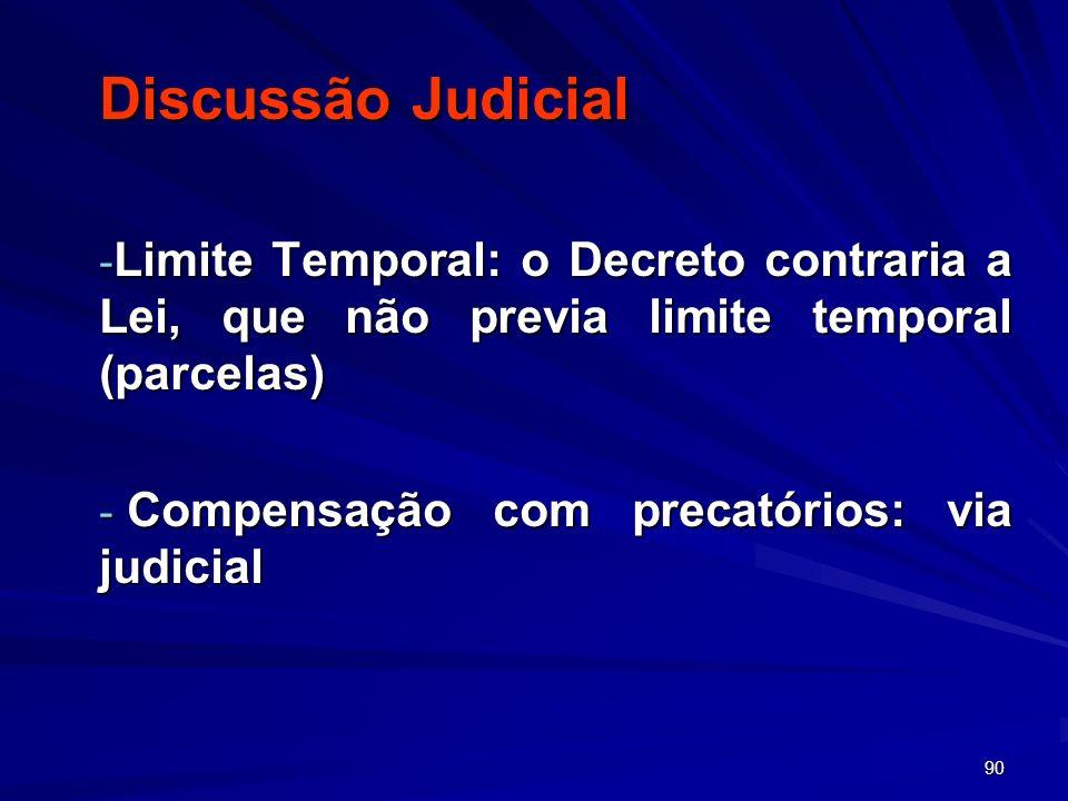 90 Discussão Judicial - Limite Temporal: o Decreto contraria a Lei, que não previa limite temporal (parcelas) - Compensação com precatórios: via judic