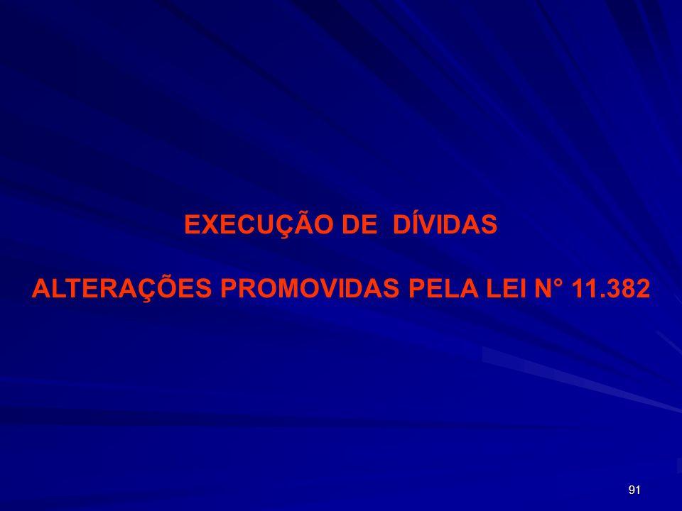 91 EXECUÇÃO DE DÍVIDAS ALTERAÇÕES PROMOVIDAS PELA LEI N° 11.382