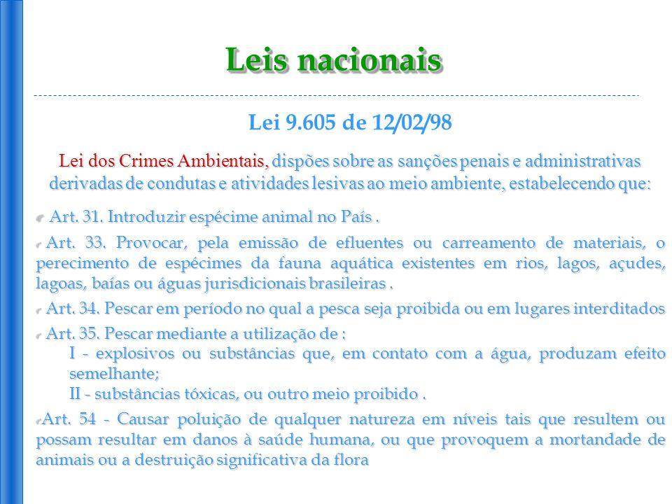Leis nacionais Lei 9.605 de 12/02/98 Lei dos Crimes Ambientais, dispões sobre as sanções penais e administrativas derivadas de condutas e atividades l