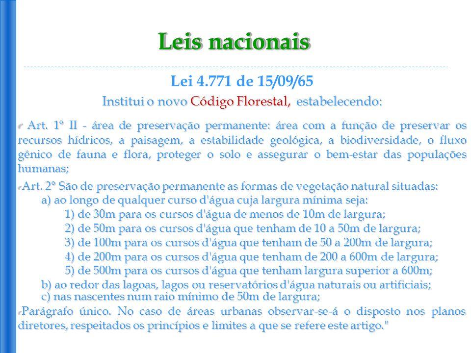 Leis nacionais Lei 4.771 de 15/09/65 Institui o novo Código Florestal, estabelecendo: Art. 1° II - área de preservação permanente: área com a função d