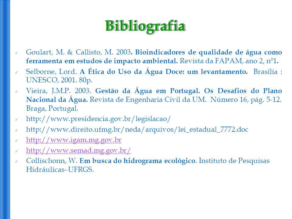 Goulart, M. & Callisto, M. 2003. Bioindicadores de qualidade de água como ferramenta em estudos de impacto ambiental. Revista da FAPAM, ano 2, nº1. Se