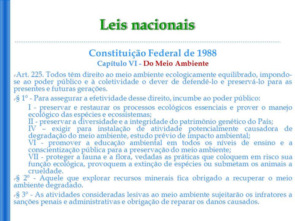 Leis nacionais Lei 6.938 de 31/08/81 Política Nacional do Meio Ambiente, dispões sobre a Política Nacional do Meio Ambiente, seus fins e mecanismos de formulação e aplicação, e constitui o Sistema Nacional do Meio Ambiente (Sisnama): Art.