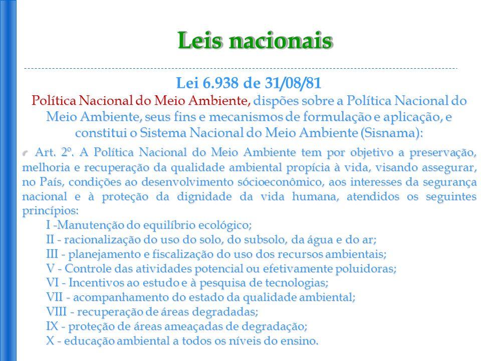Leis nacionais Lei 6.938 de 31/08/81 Política Nacional do Meio Ambiente, dispões sobre a Política Nacional do Meio Ambiente, seus fins e mecanismos de