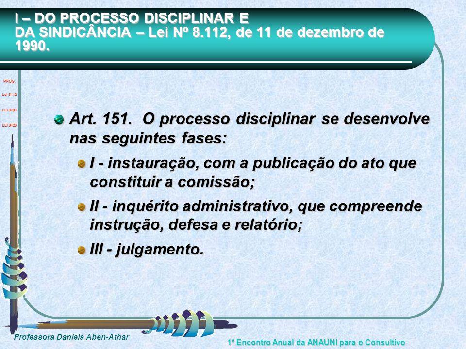 Professora Daniela Aben-Athar 1º Encontro Anual da ANAUNI para o Consultivo Art. 151. O processo disciplinar se desenvolve nas seguintes fases: I - in