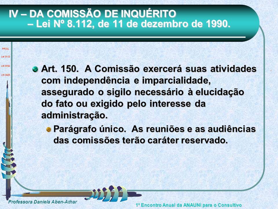 Professora Daniela Aben-Athar 1º Encontro Anual da ANAUNI para o Consultivo IV – DA COMISSÃO DE INQUÉRITO – Lei Nº 8.112, de 11 de dezembro de 1990. A