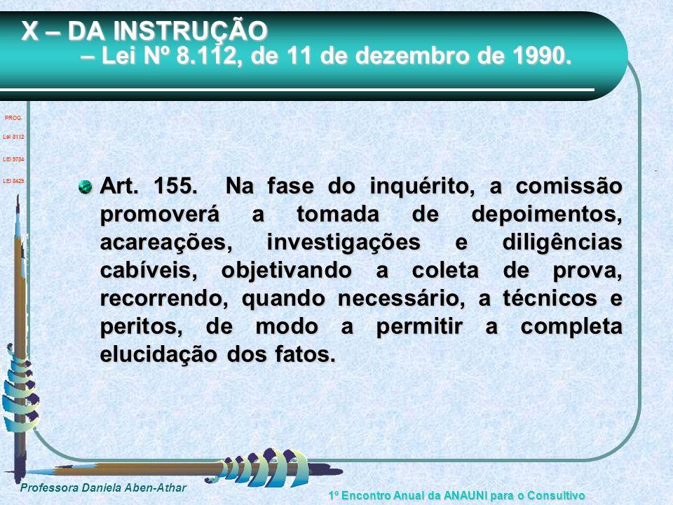 Professora Daniela Aben-Athar 1º Encontro Anual da ANAUNI para o Consultivo X – DA INSTRUÇÃO – Lei Nº 8.112, de 11 de dezembro de 1990. Art. 155. Na f