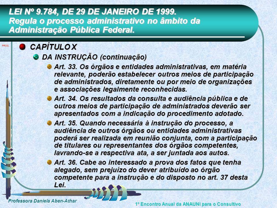 Professora Daniela Aben-Athar 1º Encontro Anual da ANAUNI para o Consultivo LEI Nº 9.784, DE 29 DE JANEIRO DE 1999. Regula o processo administrativo n
