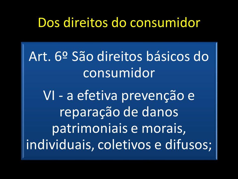 Dos direitos do consumidor Art. 6º São direitos básicos do consumidor VI - a efetiva prevenção e reparação de danos patrimoniais e morais, individuais