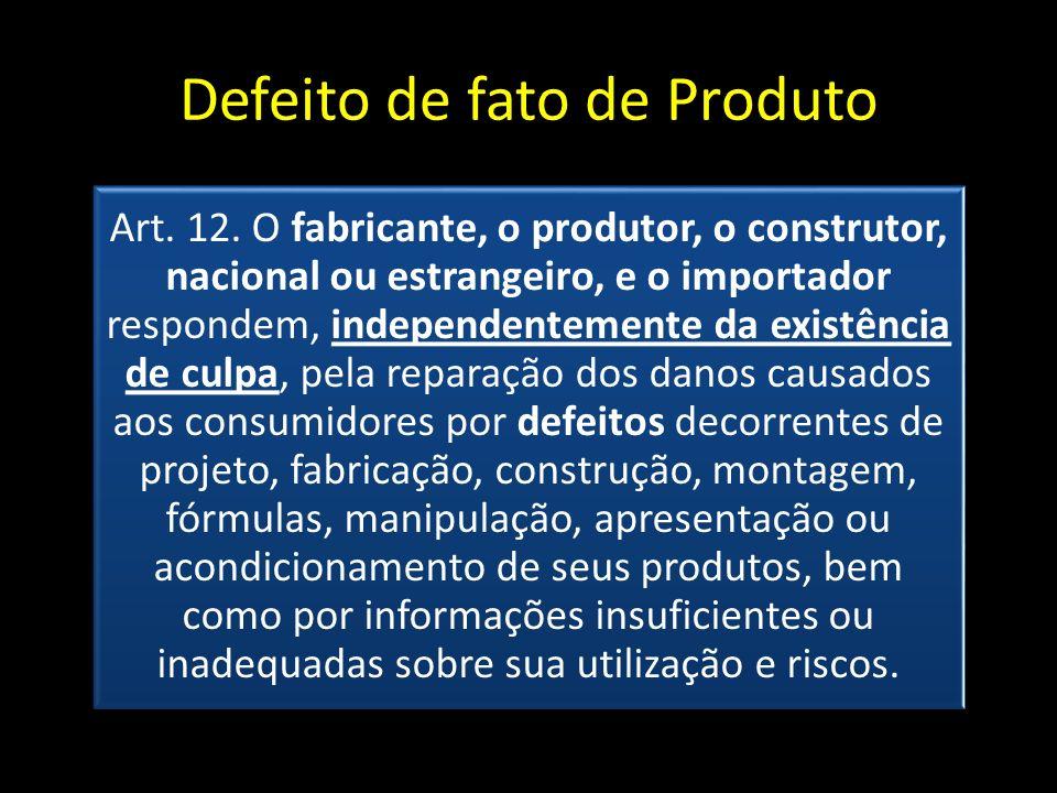 Defeito de fato de Produto Art. 12. O fabricante, o produtor, o construtor, nacional ou estrangeiro, e o importador respondem, independentemente da ex