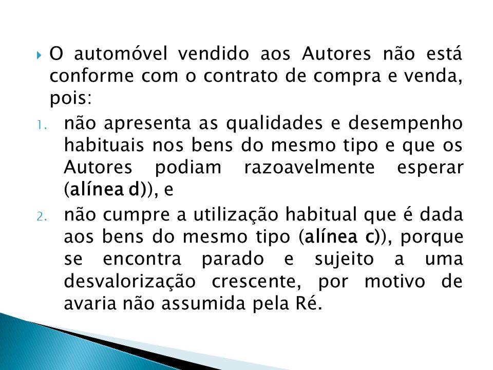 O automóvel vendido aos Autores não está conforme com o contrato de compra e venda, pois: 1.