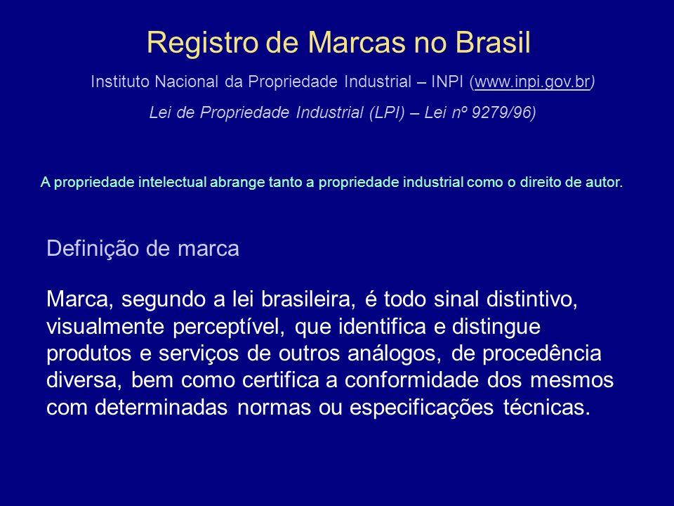 Registro de Marcas no Brasil Instituto Nacional da Propriedade Industrial – INPI (www.inpi.gov.br)www.inpi.gov.br Lei de Propriedade Industrial (LPI) – Lei nº 9279/96) A propriedade intelectual abrange tanto a propriedade industrial como o direito de autor.