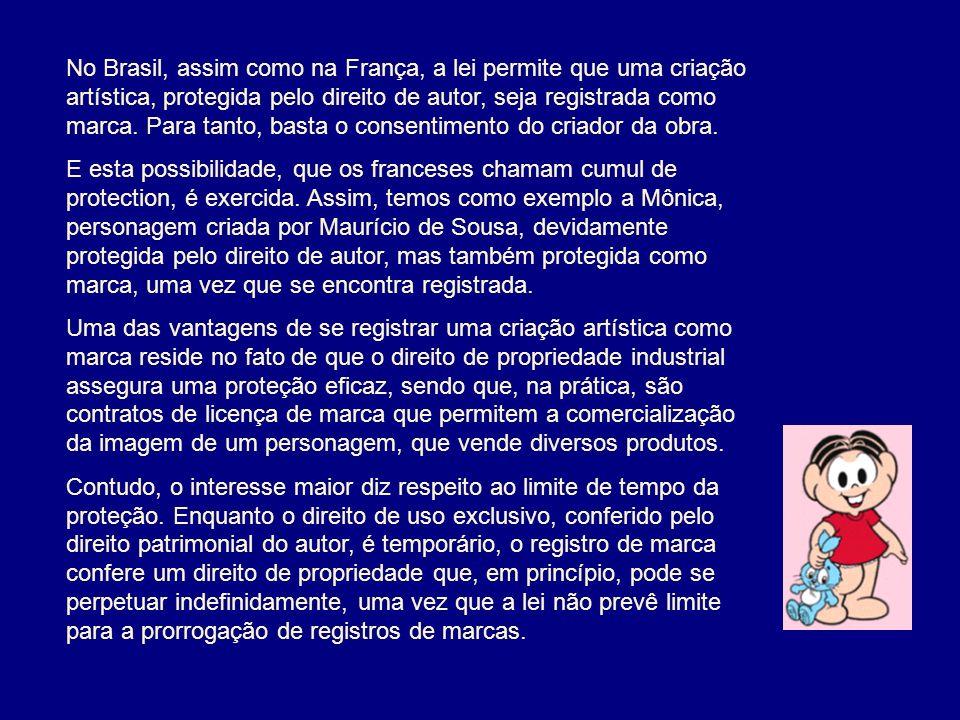 No Brasil, assim como na França, a lei permite que uma criação artística, protegida pelo direito de autor, seja registrada como marca.