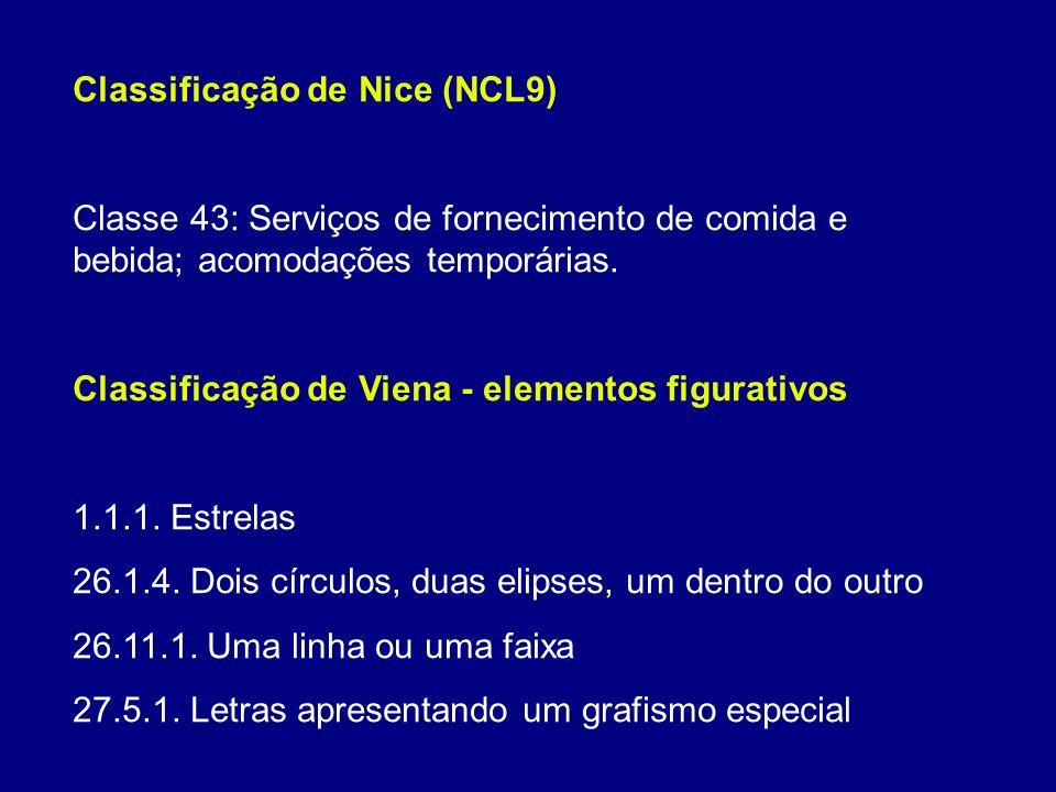 Classificação de Nice (NCL9) Classe 43: Serviços de fornecimento de comida e bebida; acomodações temporárias.