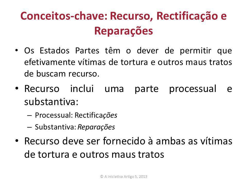 O direito à uma efetiva rectificação O direito à rectificação inclui: – Legislação – Mecanismos de queixas – Os órgãos de investigação – Instituições judiciais e quase-judiciais independentes – Disponibilidade de mecanismos, órgãos e instituições © A Iniciativa Artigo 5, 2013