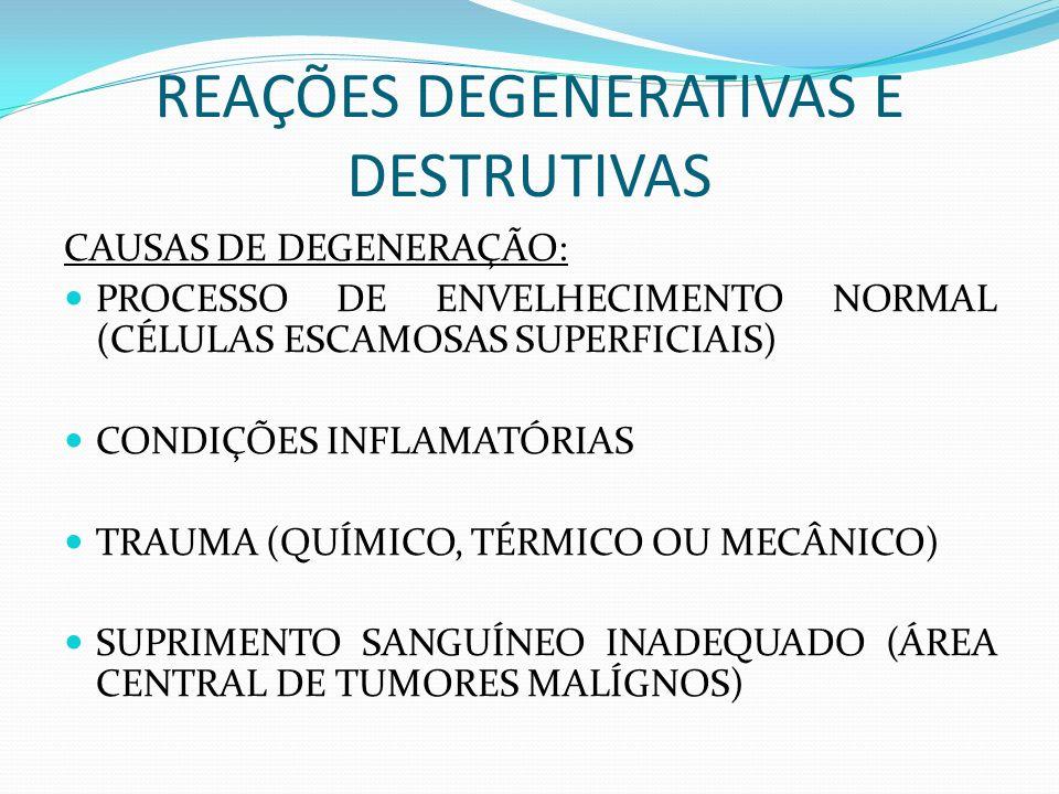 REAÇÕES DEGENERATIVAS E DESTRUTIVAS DIMINUIÇÃO OU INTERRUPÇÃO DAS FUNÇÕES CELULARES GERALMENTE RESULTAM EM MORTE CELULAR A INTERINIDADE E TIPO DE ALTERAÇÕES DEGENERATIVAS VISTO EM UMA CÉLULA, DEPEDE DA EXTENSÃO DA INJÚRIA SE TODAS AS CÉLULAS MOSTRAM O MESMO TIPO E GRAU DE DEGENERAÇÃO, É PROVÁVEL INJÚRIA ARTIFICIAL APÓS A ESFOLIAÇÃO (FIXAÇÃO INADEQUADA) DIAGNÓSTICO DE MALIGNIDADE NÃO DEVE SER BASEADO EM CÉLULAS ATÍPICAS COM DEGENERAÇÃO AVANÇADA, APRESENTANDO CITOPLASMA MAL PRESERVADO.