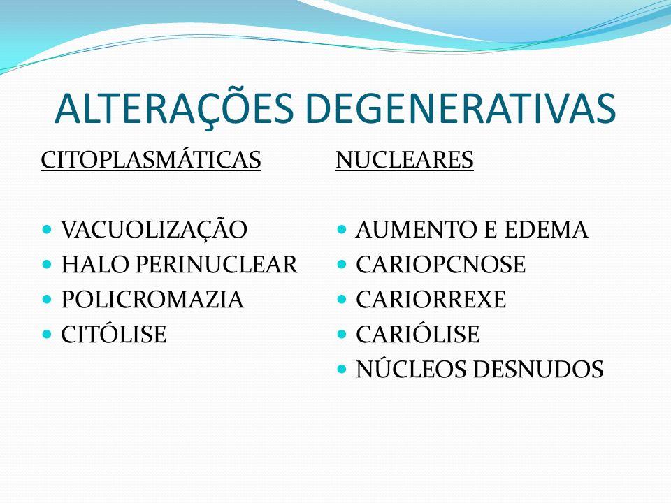 REAÇÕES DEGENERATIVAS E DESTRUTIVAS CAUSAS DE DEGENERAÇÃO: PROCESSO DE ENVELHECIMENTO NORMAL (CÉLULAS ESCAMOSAS SUPERFICIAIS) CONDIÇÕES INFLAMATÓRIAS TRAUMA (QUÍMICO, TÉRMICO OU MECÂNICO) SUPRIMENTO SANGUÍNEO INADEQUADO (ÁREA CENTRAL DE TUMORES MALÍGNOS)