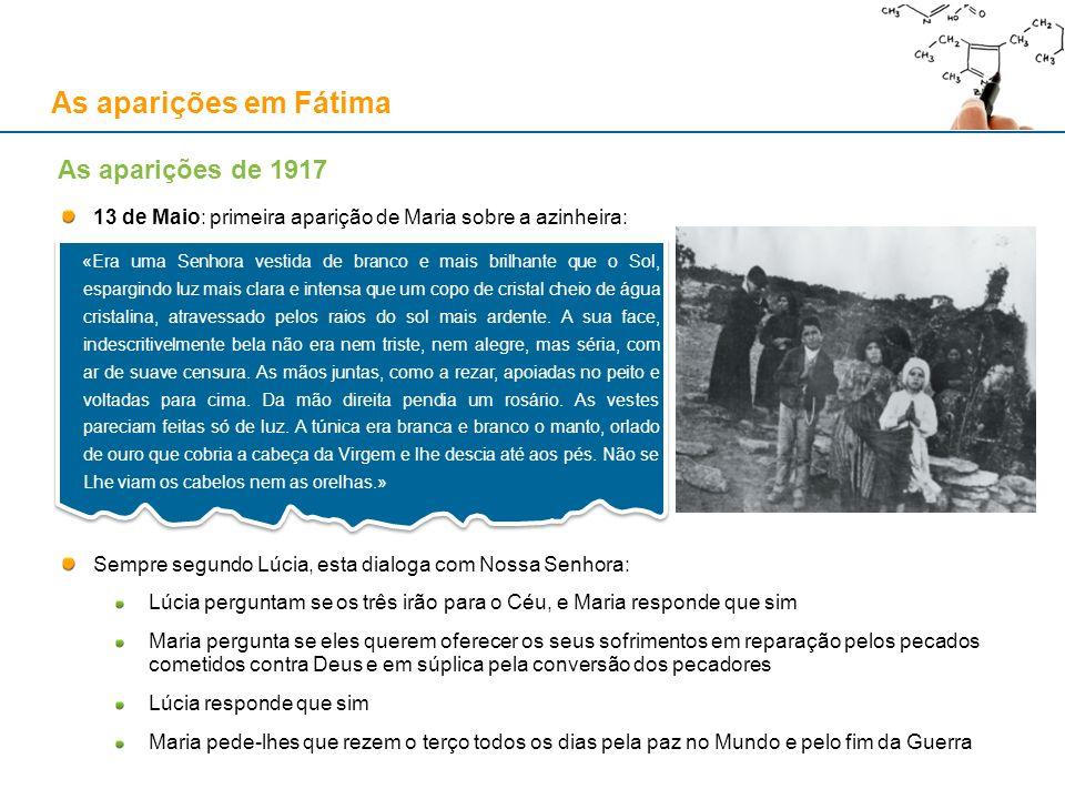 As aparições em Fátima 13 de Maio: primeira aparição de Maria sobre a azinheira: Sempre segundo Lúcia, esta dialoga com Nossa Senhora: Lúcia perguntam