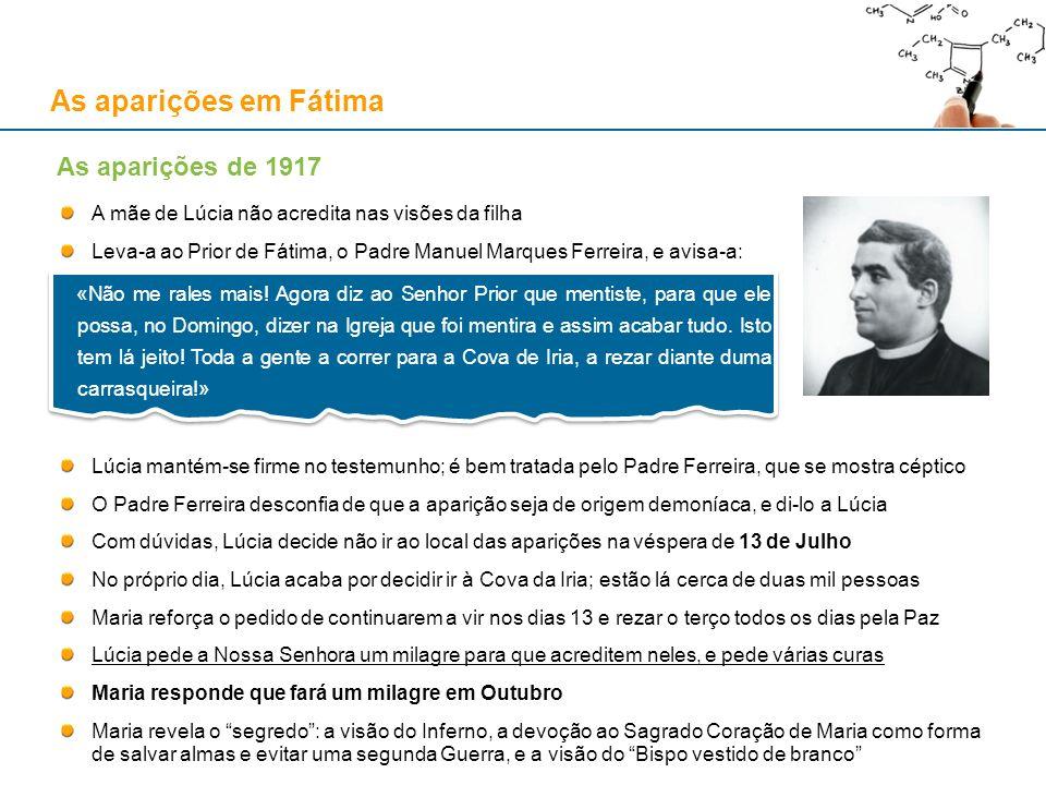 As aparições em Fátima A mãe de Lúcia não acredita nas visões da filha Leva-a ao Prior de Fátima, o Padre Manuel Marques Ferreira, e avisa-a: Lúcia ma