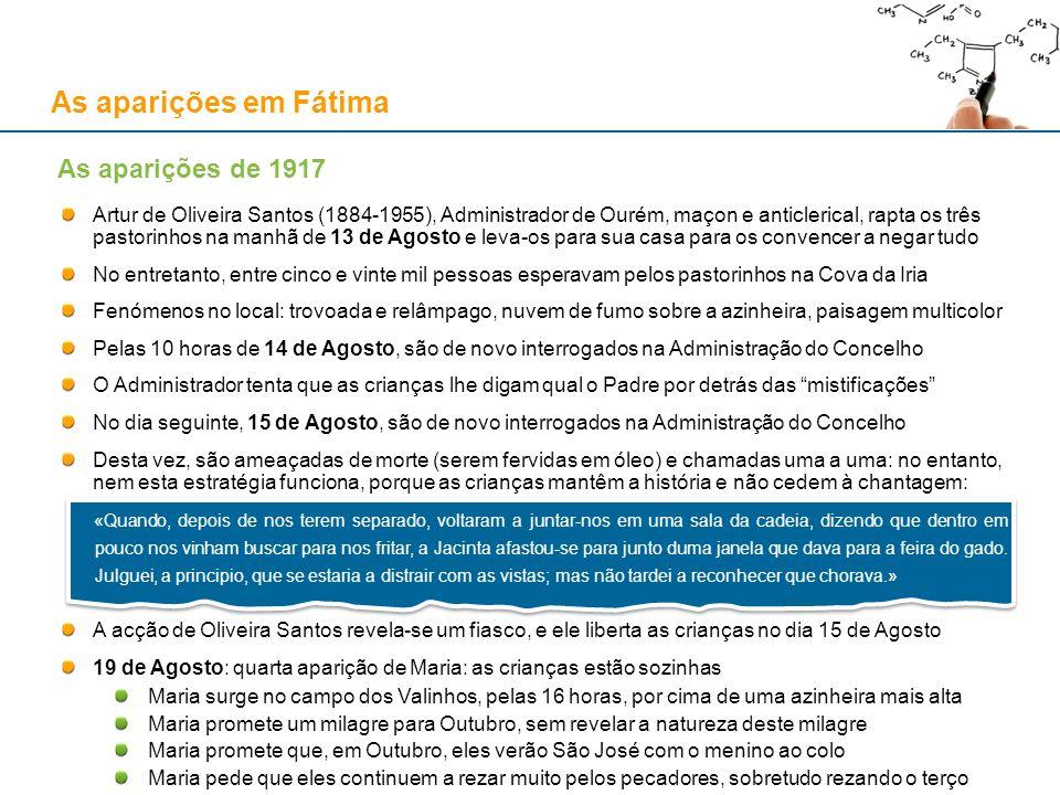 As aparições em Fátima Artur de Oliveira Santos (1884-1955), Administrador de Ourém, maçon e anticlerical, rapta os três pastorinhos na manhã de 13 de