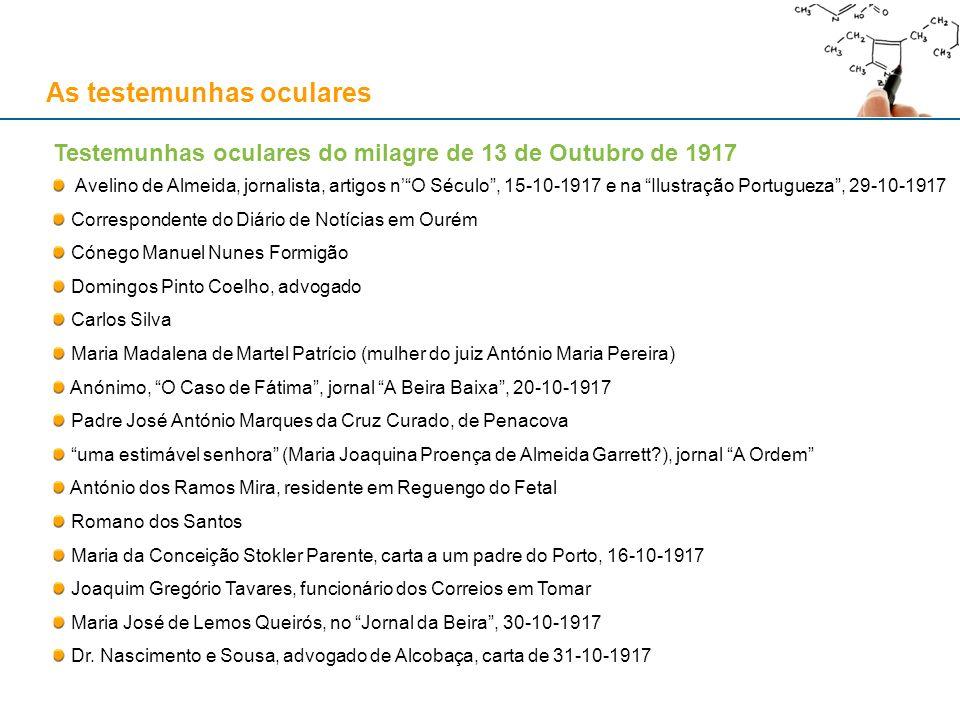 As testemunhas oculares Testemunhas oculares do milagre de 13 de Outubro de 1917 Avelino de Almeida, jornalista, artigos nO Século, 15-10-1917 e na Il