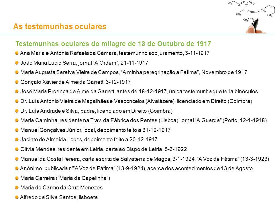 As testemunhas oculares Testemunhas oculares do milagre de 13 de Outubro de 1917 Ana Maria e Antónia Rafaela da Câmara, testemunho sob juramento, 3-11