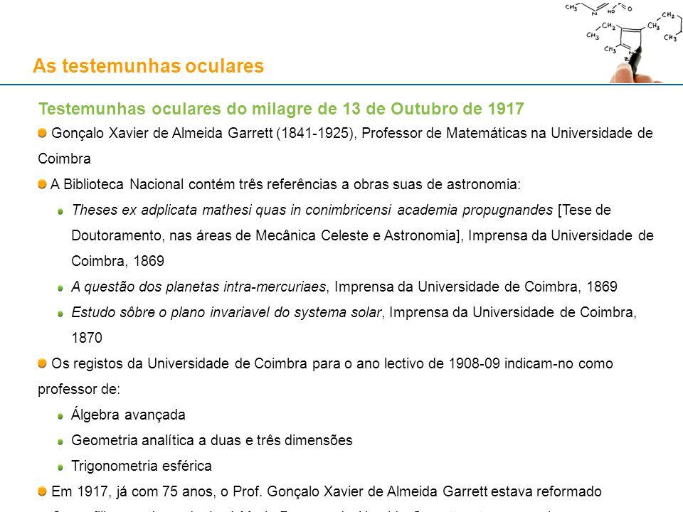 As testemunhas oculares Testemunhas oculares do milagre de 13 de Outubro de 1917 Gonçalo Xavier de Almeida Garrett (1841-1925), Professor de Matemátic