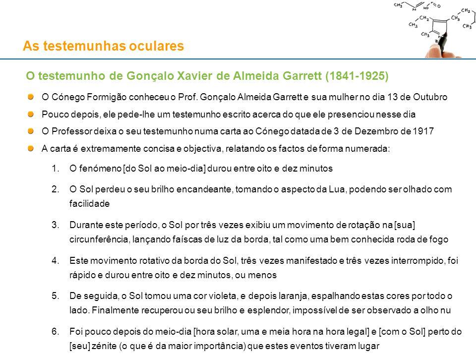 As testemunhas oculares O Cónego Formigão conheceu o Prof. Gonçalo Almeida Garrett e sua mulher no dia 13 de Outubro Pouco depois, ele pede-lhe um tes