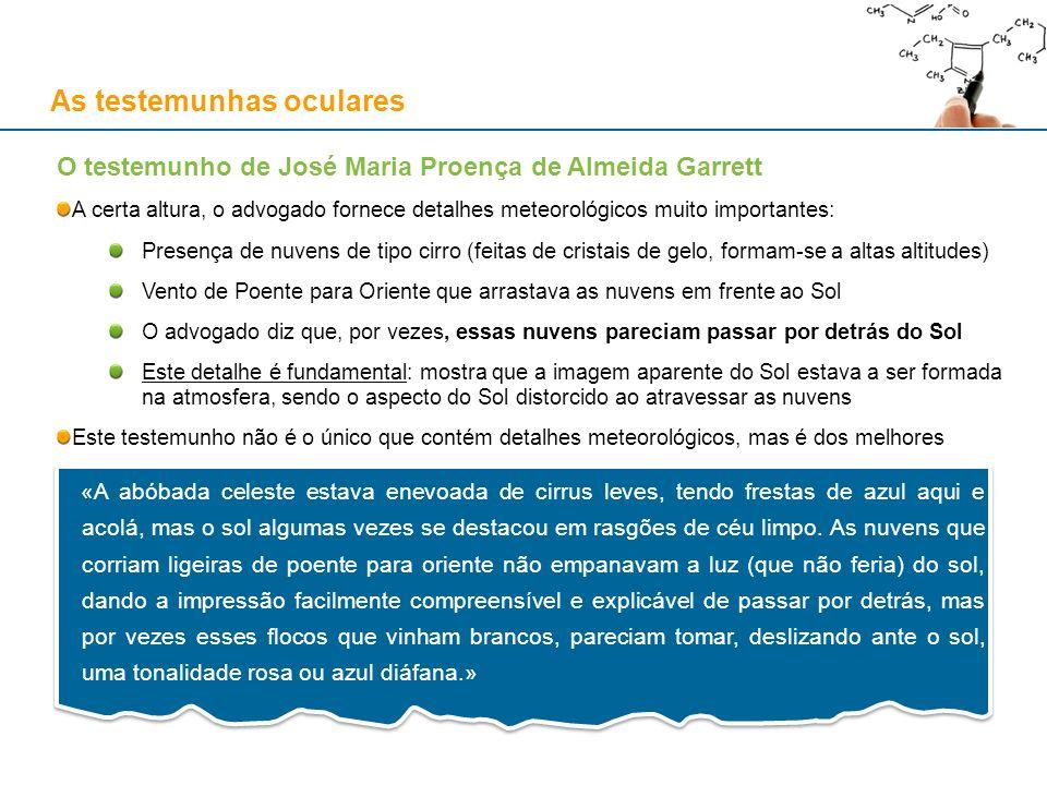 As testemunhas oculares O testemunho de José Maria Proença de Almeida Garrett A certa altura, o advogado fornece detalhes meteorológicos muito importa
