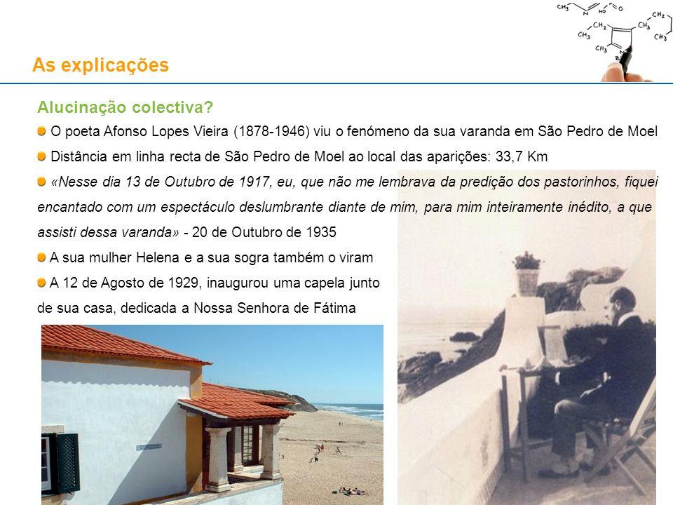 As explicações Alucinação colectiva? O poeta Afonso Lopes Vieira (1878-1946) viu o fenómeno da sua varanda em São Pedro de Moel Distância em linha rec