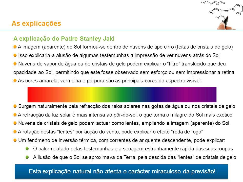 As explicações A explicação do Padre Stanley Jaki A imagem (aparente) do Sol formou-se dentro de nuvens de tipo cirro (feitas de cristais de gelo) Iss